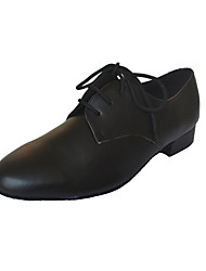Modern Men's Heels Chunky Heel Leather with Lace-ups Dance Shoes