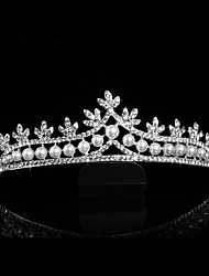 Gorgeous Alloy with Rhinestone and Pearl Flower Design Bridal Tiara Headpieces