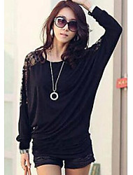 Women's Black/White Blouse,Long Sleeves