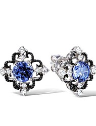Women's Tanzanite and White crystal Sterling Silver Gold Plated Earring
