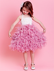 Flower Girl Dress - Mode de bal Longueur mollet Sans manches Satin