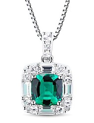 Women's Classic Sterling Silver with Emerald and White Crystal Necklace