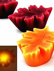 feuille d'automne flamme Twinkle conduit paraffine bougie d'art pour la décoration de vacances - (CR2032 x 1)