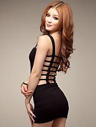 ремешок женская мини-платье, хлопок смесей синий / черный секси / партии