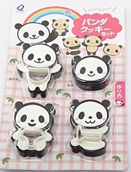 Environmental Protection Plastic 4PC Panda Cookie Mould Set