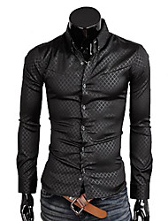 Lesen Men's Slim Obscure Quilted Solid Color Casual Long Sleeve Shirt O