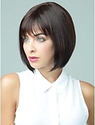 шапки короткий каштановый боб человеческих волос парики