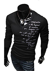 Lesen Men's V Neck Letter Embroidery Cotton Long Sleeve T-Shirt O