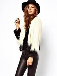 Women's Simple / Sophisticated Fur Coat,Color Block Long Sleeve Winter Faux Fur