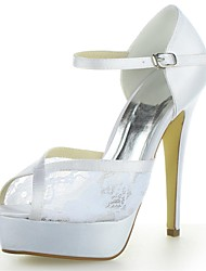 Women's Summer Heels / Peep Toe / Platform Satin / Lace Wedding Stiletto Heel Buckle Ivory / White / Champagne
