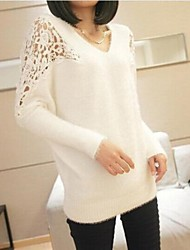 Women's Blue/Pink/Black/Beige Pullover , Casual/Lace Long Sleeve