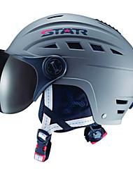 estrela unisex cinza abs ski / snowboard capacete com óculos de neve (m para 48-56cm, l para 56-62cm)