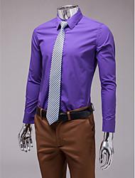 Фиолетовая голубая рубашка с длинным рукавом Slim Fit