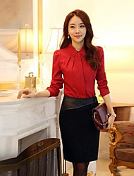Women's Lapel Slim Long Sleeve Shirt(More Colors)