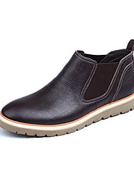 Men's Spring / Summer / Fall / Winter Motorcycle Boots Leather Casual Flat Heel Slip-on Blue / Brown / Khaki