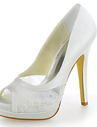 Women's Fall Platform Satin Wedding Stiletto Heel Platform Ivory White Champagne