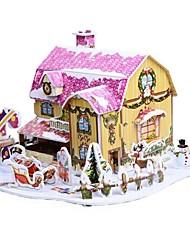 desenvolver habilidades de pensamento quebra-cabeça de natal diy papel-cabeça 3d - Christmas Cottage b368-4 (34pcs)