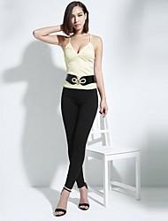Damen Solide Sexy Lässig/Alltäglich T-shirt,Gurt Alle Saisons Ärmellos Rosa / Beige / Schwarz Polyester Dünn