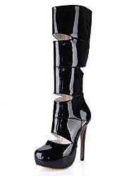 zapatos de las mujeres del dedo del pie stiletto talón de patente de la rodilla de cuero altas botas redondas con cremallera