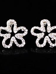 Women's  Pierced flower Rhinestone earrings