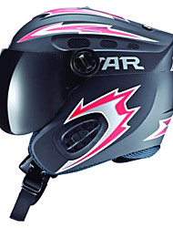 STAR Unisex Black & Red ABS Full Face Ski/Snowboard Helmet with Snow Goggles