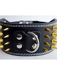 Dog Collar Black / White PU Leather