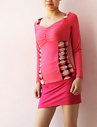 Fashion Boat Neck sexy Back Blouse Rose