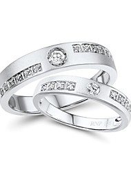 Classic Sterling Silver Platinum-Plated with Cubic Zirconia Women's Ring