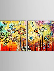 Hand Painted Oil Painting Floral Birds And Flowers with Stretched Frame Set of 2