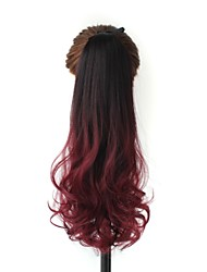 Excellent Quality Synthetic 20 Inch Ombre Long Curly Clip In Ribbon Ponytail Hairpiece