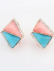 Women's Fashion Opal Beaded Rhinestone Pave Rhombic Shape Stud Earrings