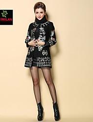 yimilan® haut de gamme lourde tempérament des femmes de manteau de manteau brodé