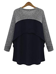 Women's Casual/Daily Simple Spring / Summer / Fall T-shirt,Patchwork Round Neck Long Sleeve Gray Medium