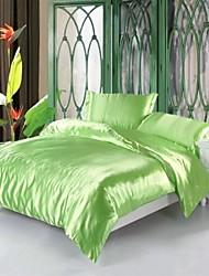 4-Piece Silk Fruit Green   Pure Stripe Hotel Supplies Duvet Cover Set