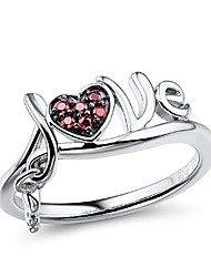 Women's  Fashion Sterling Silver Platinum-Plated with Created Ruby Ring