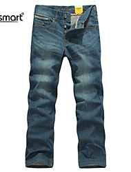 Men's Solid Casual / Work Jeans,Polyester Blue