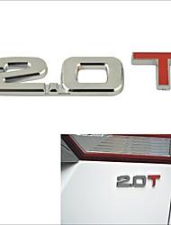 3D fresco 2,0 t de liga estilo cromo carro decoração adesivo
