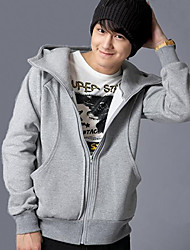 Front Pockets Zipper Short Coat Grey