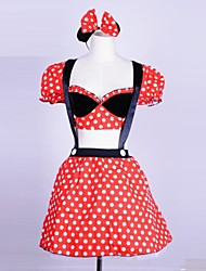 Lovely Minnie Mouse Polka Dot Red Cotton Cosplay Costume