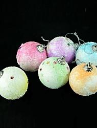 navidad bolas de nieve decoraciones para árboles de Navidad - naranja + blanco (5cm / 6 piezas)