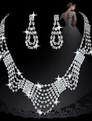 moda diamante geométricas conjuntos femininos doces: colar e brincos (venda de ações; julgamento: 3)