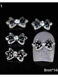 10pcs pontos pretos gravata borboleta de strass acessórios de liga pontas do dedo da arte do prego decoração