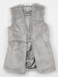Women's Faux Fur Vest Gilet Mid Long Outwear