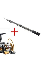 Telespin Rod / Fishing Rod + Reel / Fishing Rod Telespin Rod Carbon 171 M Sea Fishing Rod & Reel Combos Silver