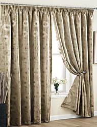 oscurecimiento sala flor jacquard cación cortina forrada (dos paneles)