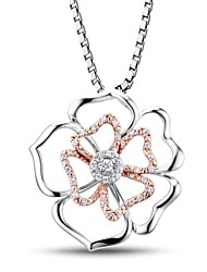 Women's Fashion  Rose Gold Plated (Flower Shape) Sterling Silver with Cubic Zirconia Necklace