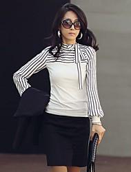 Nuoweisi Women's Fashion Bow Neck Stripe Long Sleeve T-Shirt