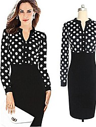 VICONE Women's V Neck Polka Dots Splicing Bodycon Dress