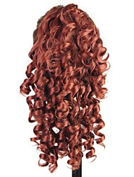 Claw Clip Synthetic 18 Inch Wine Long Curly Ponytail