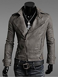 cierre de cremallera cuello vuelto chaqueta de cuero de la PU de los hombres (más colores)